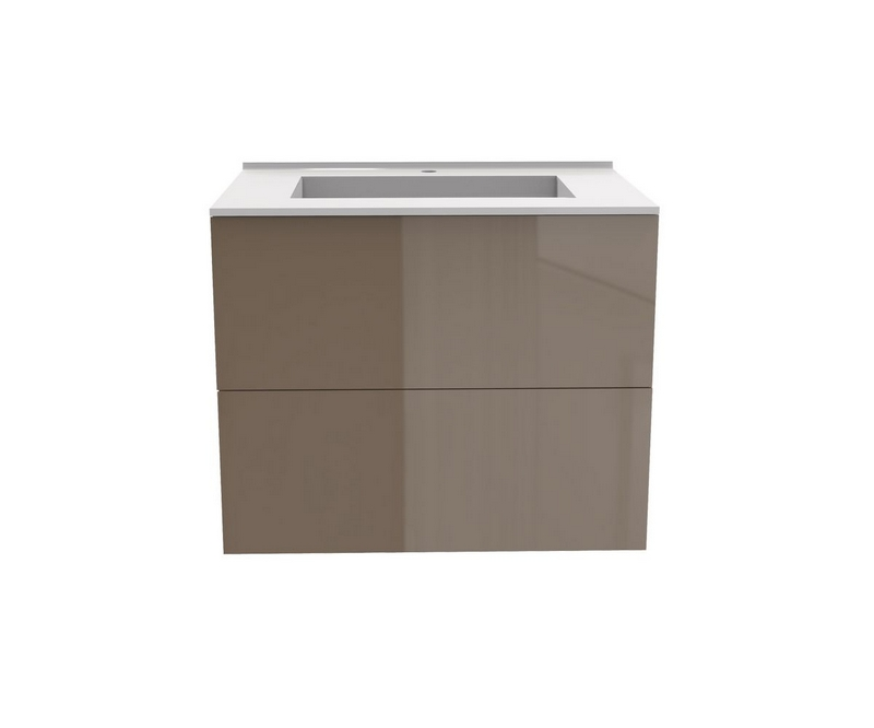 Meuble vasque Liberté Gloss taupe - Taupe - L700 x P480 x H576mm