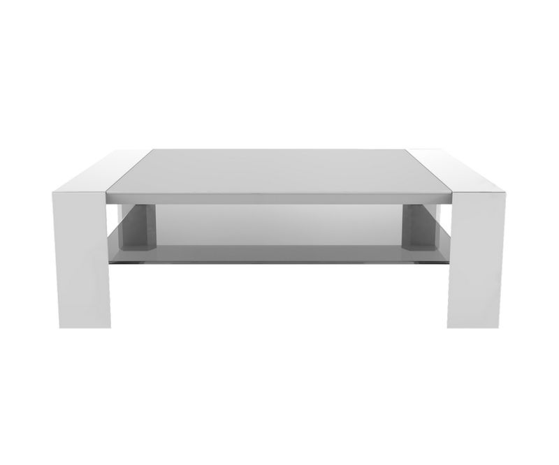 Table basse Munich - Blanc / Chêne - L1100 x P700 x H350mm