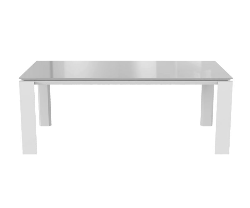 Table de séjour Munich - Blanc / Gris - L2000 x P1000 x H750 mm