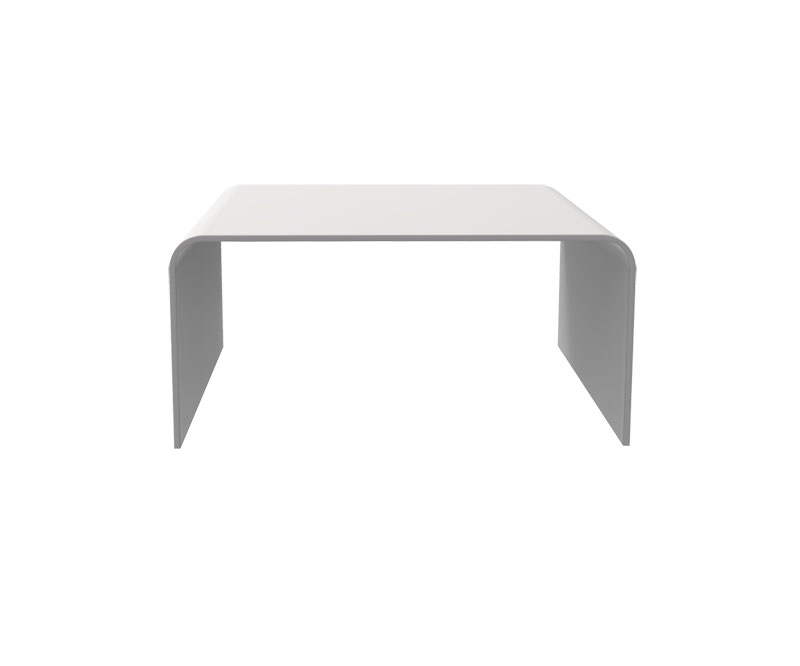 Table basse en solid surface - Blanc / Chêne - L750 x P750 x H400 mm
