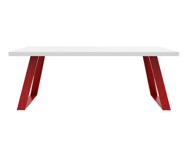 Table de repas Manhattan - Blanc / Bordeaux - L2000 x P900 x H750mm