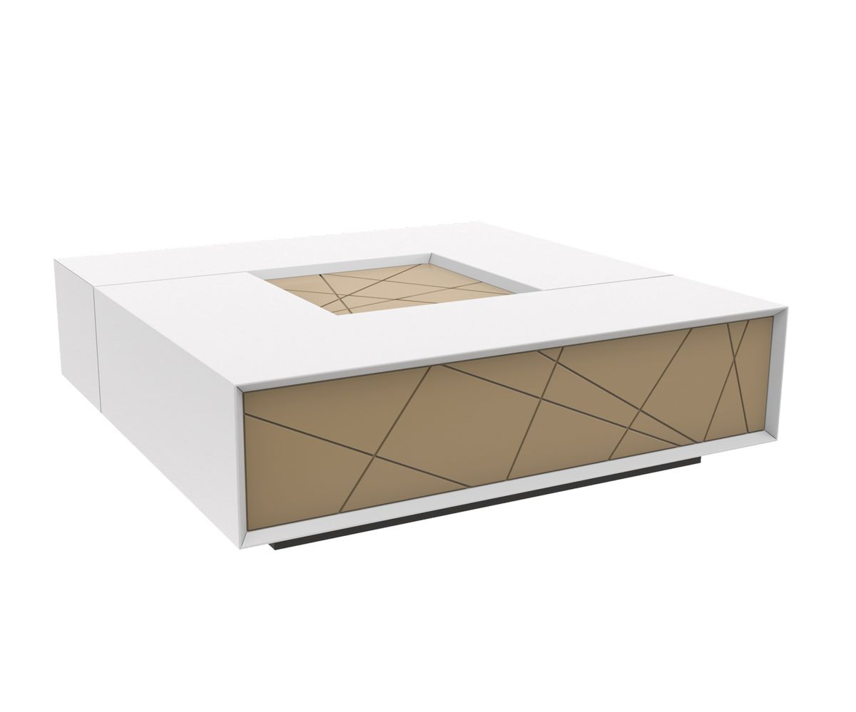 Loungewell Table basse Stockholm - Blanc / Beige - L1100 x P1100 x H325 mm
