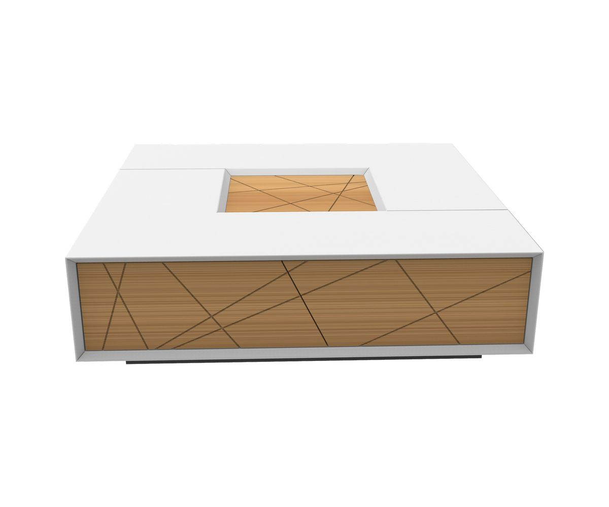 Loungewell Table basse Stockholm - Blanc / Chêne - L1100 x P1100 x H325 mm