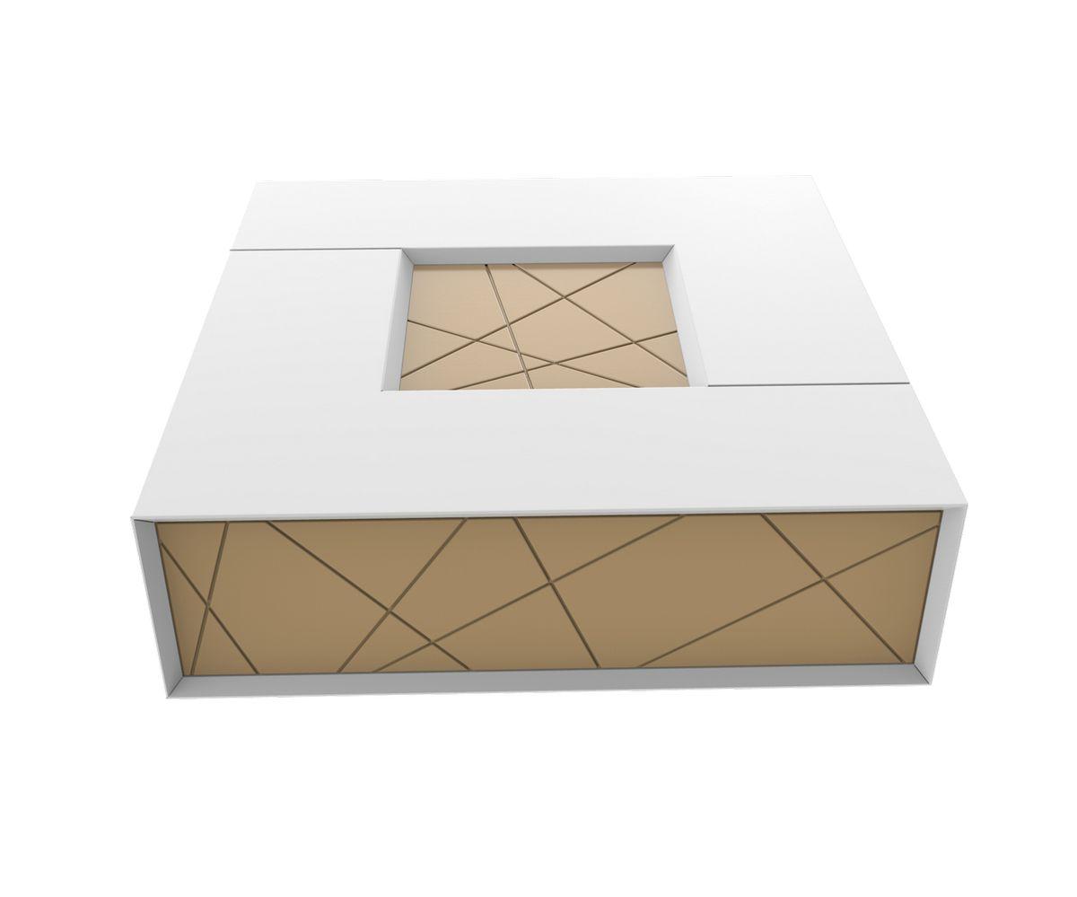 table basse stockholm blanc beige l900 x p900 x h325 mm. Black Bedroom Furniture Sets. Home Design Ideas
