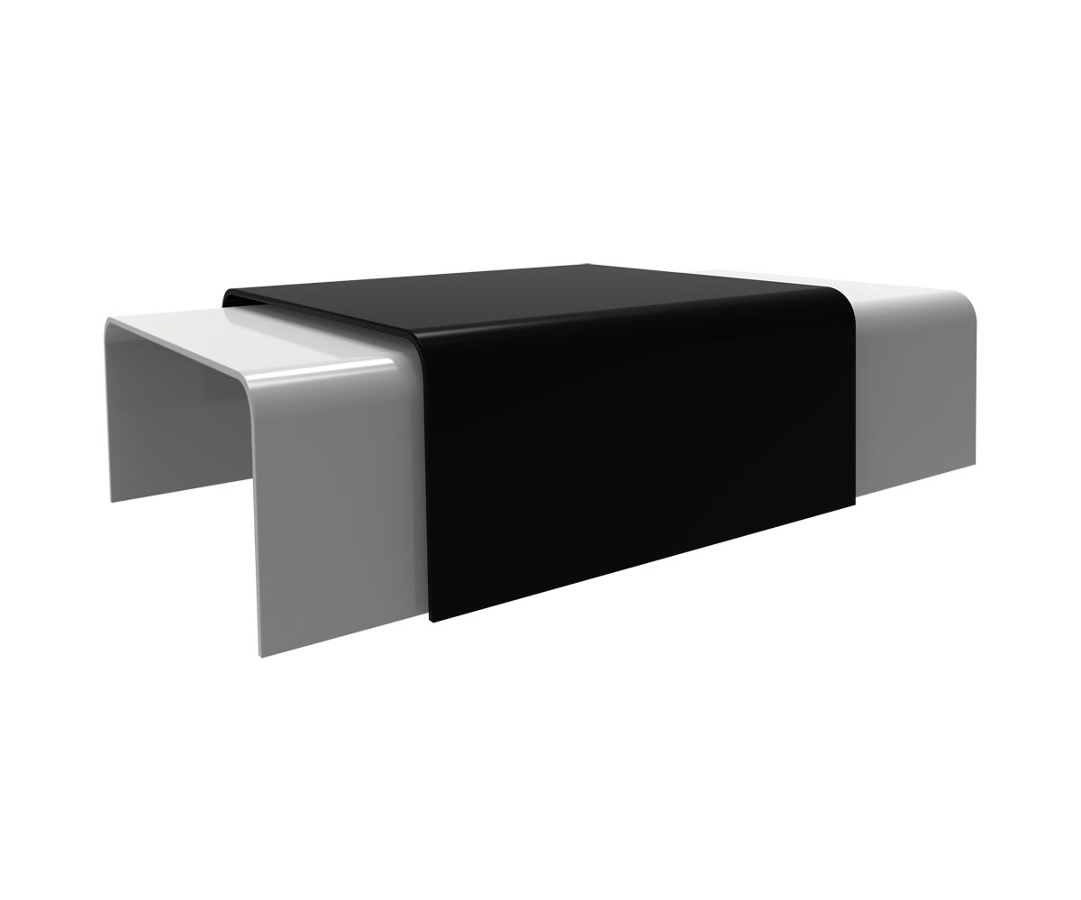Loungewell Table basse en solid surface - Noir - L750 x P750 x H400 mm